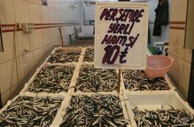 Ordu'da 1 Hafta Önce Tezgahtaki Yerini Alan Karadeniz Hamsisi Her Gün Farklı Fiyatlardan Satılıyor.