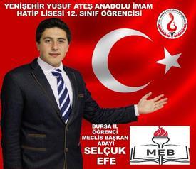 Yenişehir Yusuf Ateş Anadolu İmam Hatip Lisesi Okul Başkanı Selçuk Efe, İl Öğrenci Meclisi Başkanlığına Adaylığını Açıkladı.