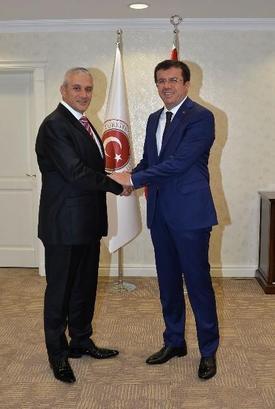 Ekonomi Bakanı Nihat Zeybekci Kktc Bayındırlık Ve Ulaştırma Bakanı Hasan Taçoy'u Kabul Etti.