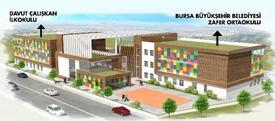 Bursa'da Eğitime Büyük Destek Veren Büyükşehir Belediyesi Tarafından Yenilenerek Modern Bir Yapıya Kavuşturulacak Olan Zafer İlk Ve Ortaokulu'nda Çalışmalar Başladı.
